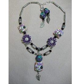 Sharon B's Originals Silver & Multi Lampwork w/ Purple Flowers Necklace & Earrings