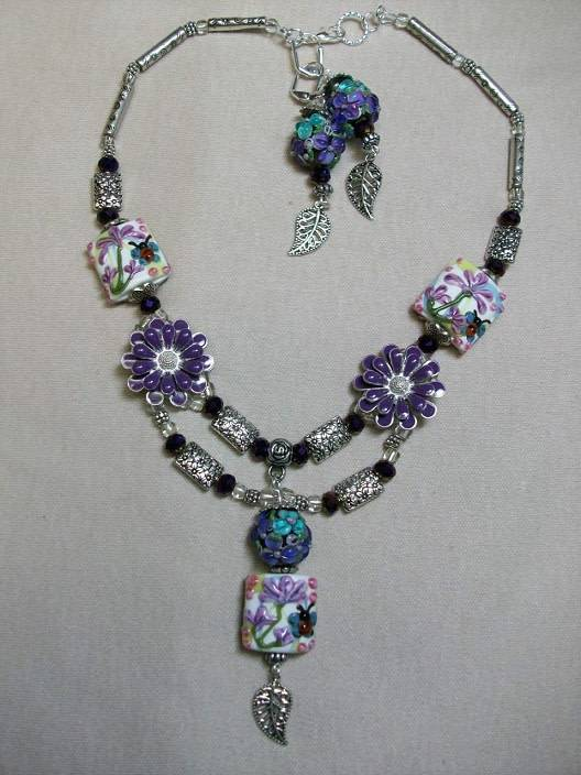 Sharon B's Originals Silver & Multi Lampwork w/ Purple Flowers Necklace & Earrings