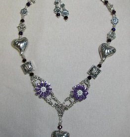 Sharon B's Originals Silver Hearts w/ Purple Enamal Flowers Necklace & Earrings