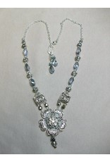 Sharon B's Originals Silver Flower w/ Small Vintage Crystal Button Center Necklace & Earrings