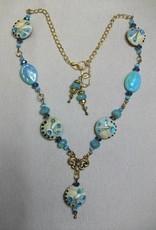 Sharon B's Originals Antique Gold w/ Blue & Tan Lampwork Beads Necklace & Earrings