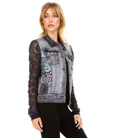 Adore Long Crochet Sleeve Denim/Lace Jacket