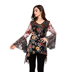 Adore Long Bell Sleeve Printed Floral Top