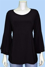 Pretty Woman 3/4 Bell Sleeve Solid Top Black