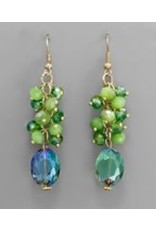 Golden Stella Faceted Oval Crystal w/Multi Round Crystal Dangle Lt Green/Gold