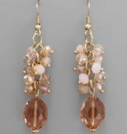 Golden Stella Faceted Oval Crystal w/Multi Round Crystal Dangle Lt Pink/Gold