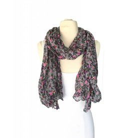 J & X Grey Scarf w/ Pink & Red Floral