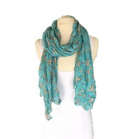 J & X Light Blue Scarf w/ Peach & Red Floral
