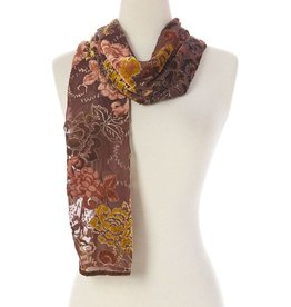 J & X Silk & Velvet Scarf Brown w Gold & Peach Floral