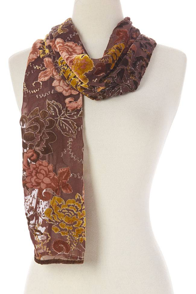 J & X Silk & Velvet Scarf Brown w Gold & Peach Floral