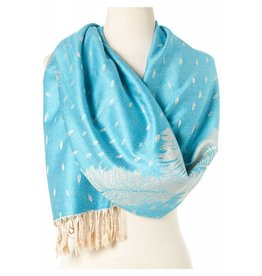 J & X Pashmina Shawl Turquoise w/Tan Feather Design & Fringe