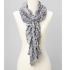 J & X Leopard Ruffle Scarf Light Grey & White