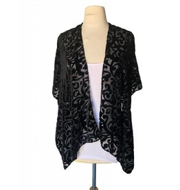 J & X Burnout Velvet Kimono Black