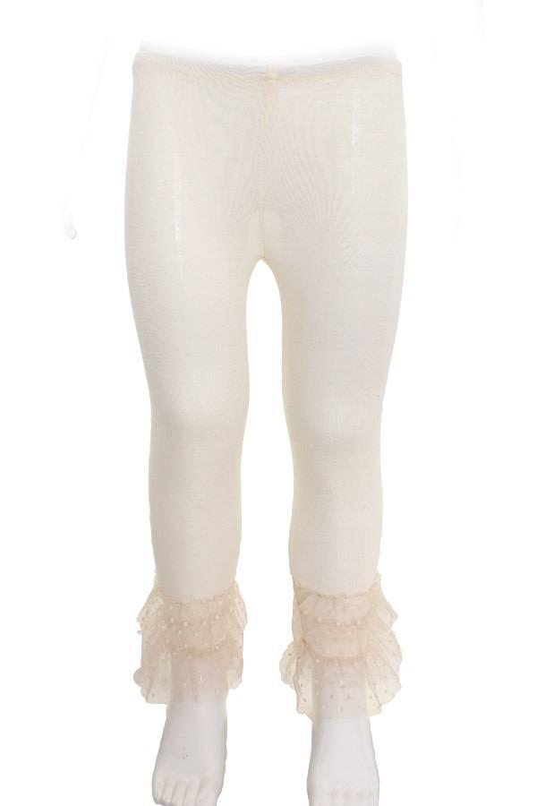 SassyBling Tulle Ruffle Layered Cuff Leggings Cream