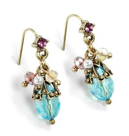 Sweet Romance Ocean Cluster Earrings Aqua