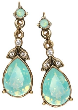 Sweet Romance Pacific Opal Faceted Crystal Pear Earrings Bronze