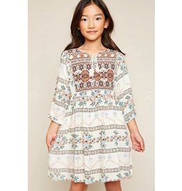 Hayden Los Angeles Tribal Print Tunic Dress Cream Mix