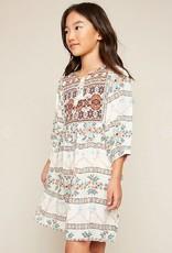 Hayden Los Angeles Tribal Print Tunic Dress Cream Mix