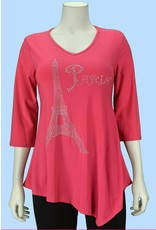 Pretty Woman V Neck 3/4 Sleeve Asymmetric Hem Tunic with Bling