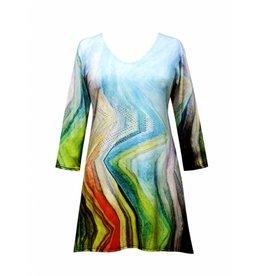 Valentina Signa 3/4 Sleeve Lycra Tunic Jagged Pastel Plus