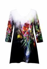 Valentina Signa 3/4 Sleeve Lycra Tunic Flower Pot