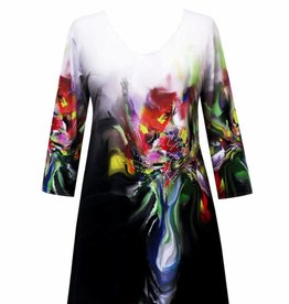 Valentina Signa 3/4 Sleeve Lycra Tunic Flower Pot Plus