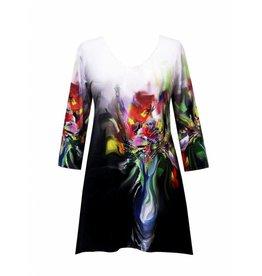Valentina Signa 3/4 Sleeve Lycra Tunic Flower Pot Plus
