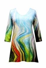 Valentina Signa 3/4 Sleeve Lycra Tunic Jagged Pastel