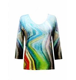 Valentina Signa 3/4 Sleeve Lycra Top Jagged Pastel