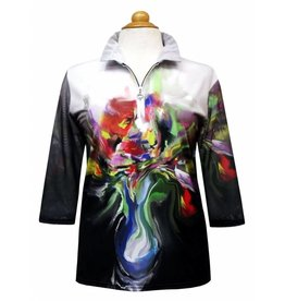 Valentina Signa Zip Front Shapeable Collar Sheer Sleeve Top Flower Pot