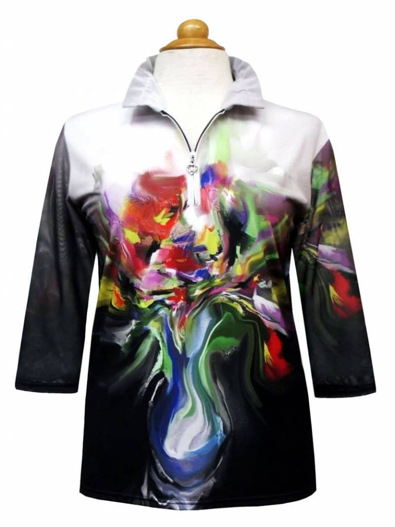 Valentina Signa Zip Front Shapeable Collar Sheer Sleeve Top Flower Pot