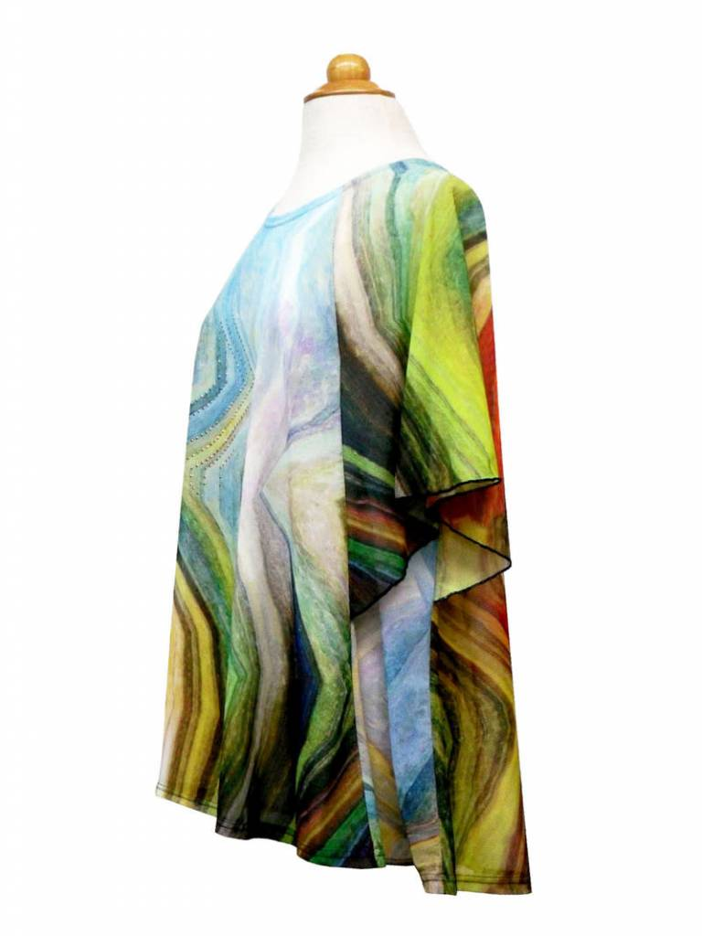 Valentina Signa Dolman Sleeve Sheer Poncho Jagged Pastel