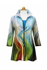 Valentina Signa Chiffon Jacket with Shapeable Collar Jagged Pastel