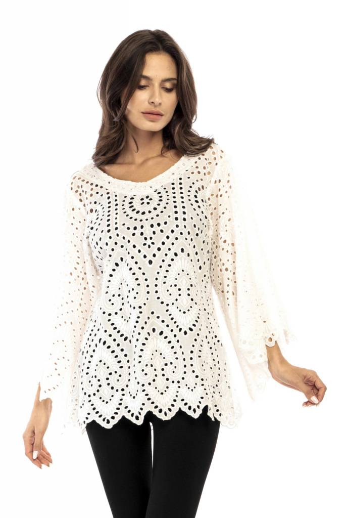 Adore Crochet Wide Sleeve Top White