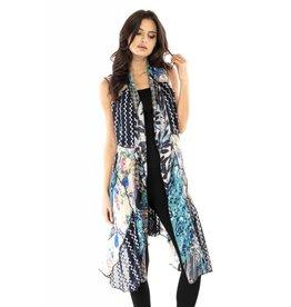 Adore Mixed Media Vest Blue/Multi