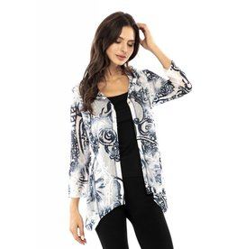 Adore Tie Dye Burned Out Hooded Jacket White/Blue