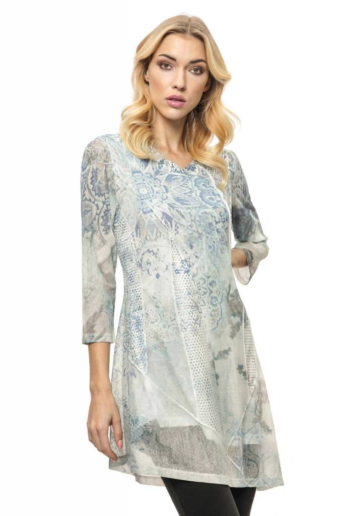 Adore Tie Dye Assymetric Tunic Mint Attached Underliner