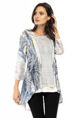 Adore Burned Out Layered 3/4 Sleeve Hi-Lo Blouse White/Blue w/ Attached Underliner