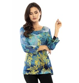 Adore Tie Dye Net Burned Out 3/4 Sleeve Top Turquois