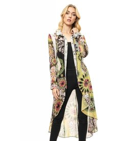 Adore Floral Printed Button Down Duster Multi Color