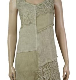 Pretty Angel Lace Patchwork Tone on Tone Dress Green