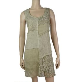 Pretty Woman Lace Patchwork Tone on Tone Dress Green