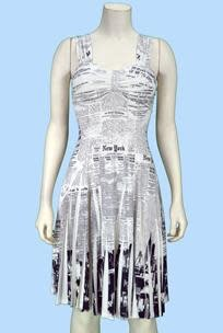 Pretty Woman Sublim Dress - Gathered at Chest NY Newsprint