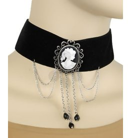 Golden Stella Black Velvet Cameo Victorian Necklace