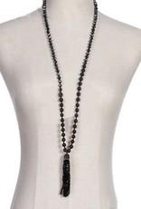 Golden Stella Lava Stone & Bead Tassel Necklace Jet