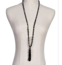 Golden Stella Lava Stone & Bead Tassel Necklace Jet