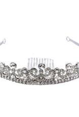 Golden Stella Round Crystal Crown Tiara Clear