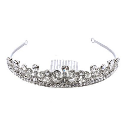 Golden Stella Round Crystal Crown Tiara Clear