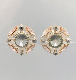 Golden Stella Crystal Cluster Clip On Earrings Black Clear Gold