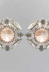 Golden Stella Crystal Cluster Clip On Earrings Peach Clear